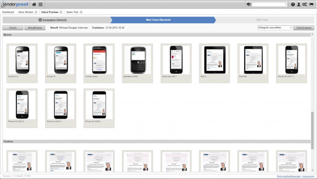 Email Preview Tool - Mit Hilfe des Client Inbox Preview können Sie über 80 verschiedene Mail-Clients und Browserkombinationen testen