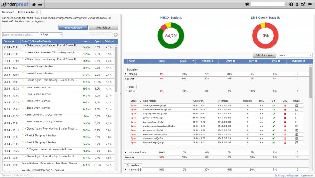 Inbox Monitor - Inbox Monitoring - Inbox Placement Monitor - Zustellraten - Posteingangsraten